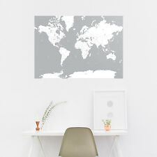 A1 Grey White World Map Office Home Artwork Print Poster - Travel Gift Present