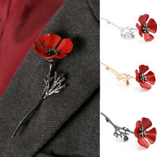 Fashion Red Flower Crystal Brooch Pin Banquet Badge Gold Flower Gift Jewelry