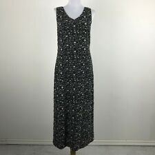 Laura Ashley Maxi Dress Size 8 Sleeveless Polyester Black Floral Embroidered