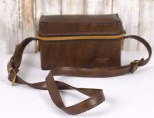 """Vintage Brown Leather Camera Bag Hard Case With Handle & Shoulder Strap """"110"""""""