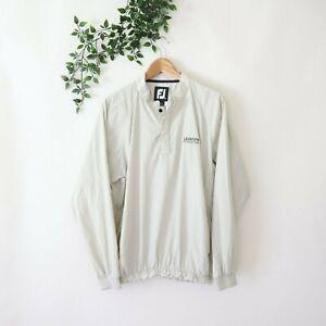 FootJoy Men's Long Sleeve 1/4 Snap Button Windbreaker Golf Jacket M Medium Tan