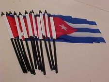 12 Pack Cuba 4 inch x 6 inch Cuban Mini Flag Black Stick