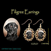 LABRADOR RETRIEVER DOG  Black Adult - GOLD FILIGREE EARRINGS Jewelry