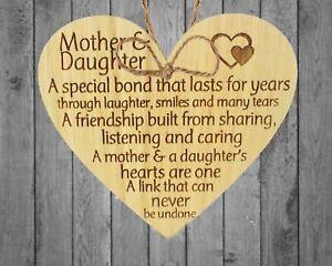 Mother Daughter Handmade Oak Wooden Heart Friendship Plaque Mothers Day Mum Gift