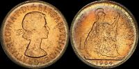 1964 GREAT BRITAIN ONE 1 PENNY ELIZABETH II BEAUTIFUL COLOR TONED IN HIGH GRADE