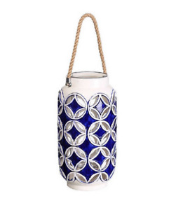 Ixia Zafira Ceramic Candle Holder Lantern, Blue and White with Rope Handle