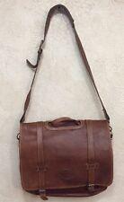 Eddie Bauer Brown Leather Messenger Bag Travel Lined Shoulder / Hand Tote 01102