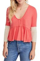 We The Free By Free People Womens Heart Of Mine Blouse Camelia Pink Size S