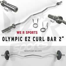 """We R Sports Olympic EZ E-Z Curl Bar 2"""" Lifting Barbell Bar With Spring Collar"""