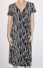 Millers Brand Black White Print Wrap Short Sleeve Dress Size 14 BNWT #SH30