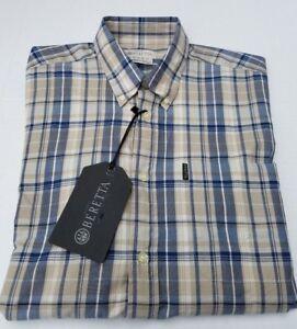 New BERETTA Plaid Beige Blue Check Polo Button Long Sleeve Shirt Mens L US XL
