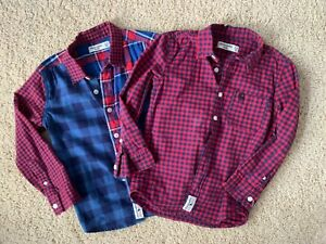 Lot of 2 Abercrombie Kids Boys Plaid Shirts Size 5-6 Yrs