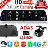 4G Android8.1 12in Car DVR Camera GPS Navi Rearview Mirror Dual Lens BT Dash Cam