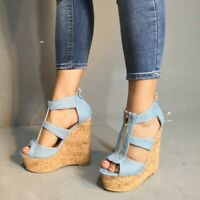 Damen Denim Platform Peep Toe Pumps Sandalen Keilabsatz Party Schuhe Gr.35-47