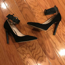 REED KRAKOFF black suade python ankle strap stiletto Heels Pumps shoes 38 7.5