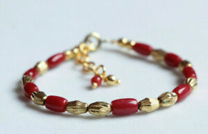 Natural Italy Red Coral Lucky Charm Bracelet for Baby Protection Anti-Usog