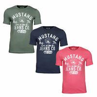 Mustang Herren T-Shirt 3er Pack mit Frontprint-Rundhals-Farbmix /Legerer Schnitt