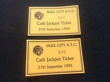 Pair Vintage 1995 Hull City AFC Cash Hackpot Tickets Football Memorabilia Soccer