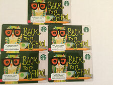 NEW  STARBUCKS BACK TO SCHOOL 2016 GIFT CARDS LOT OF 5