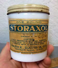 vintage RARE early 1900s STORAXOL milk glass jar (empty), Parke Davis & co MICH