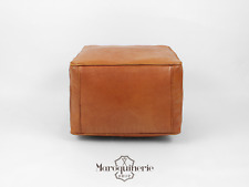 Light Brown Leather Pouf, Moroccan Leather Pouf, Leather Ottoman, Leather Chair