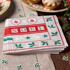 Festa Di Natale Tovaglioli Tovaglioli Holly Servizio da tavola Natale Festive Noel Pack 20