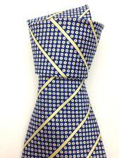 Vintage Swing Necktie Wide Neck Tie Dark Blue Spots and Stripes Symmetrical