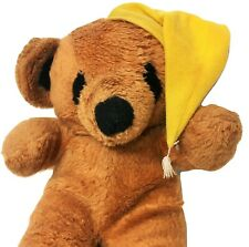 Vintage Interpur Goodnight Teddy Bear Brown Plush Yellow Sleeping Night Cap 12""