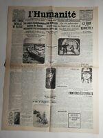 N402 La Une Du Journal L'humanité 16 décembre 1927 une féroce bataille de classe
