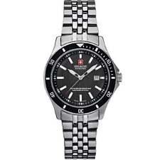 Swiss Military Flagship Black Dial Stainless Steel Bracelet Ladies Watch