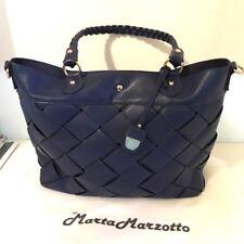 Borsa donna MARTA MARZOTTO eco pelle blu manici tracolla doppia borsa bag italy