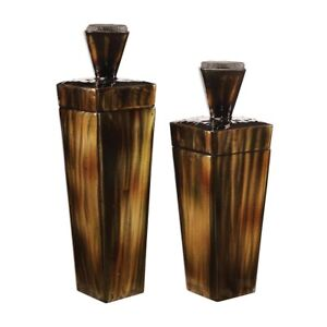 """PAIR MODERN INDUSTRIAL LISA STEEL CONTAINERS XXL 19"""" & 23""""UTTERMOST 18590"""