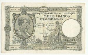Belgium 1000 francs 1939 circ. @ low start