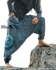 Stonewash Harem Pants Mens Blue Hippie Distressed Yoga Festival Om Ohm Festival