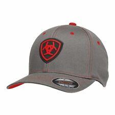Ariat Western Mens Hat Baseball Cap Flex Fit Logo Gray 1512406 4b1b4fb9c8bf