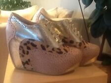Brand New Beige/Leopard /Gold  Leather Chinese Laundry Wedge Ankle Boots - 4(37)