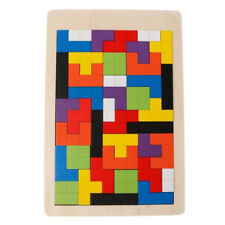Wooden Building Blocks Kids Children Puzzle Games Tetris Game Educational Toy