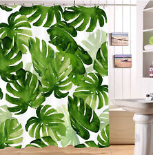 """60x72"""" Watercolor Hand Drawn Tropical Monstera Leaves Fabric Shower Curtain Set"""