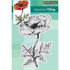 New Clng Penny Black RUBBER STAMP DYNAMIC POPPY FLOWER  Free us ship