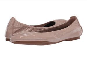Tory Burch NIB Eddie Ballet Flat Patent Leather Logo Goan Sand MANY SIZES