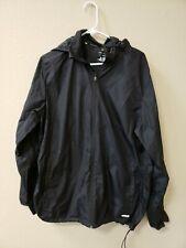 Tek Gear Water Resistant Windbreaker Rain Jacket Mens Size Large Black Hooded