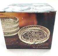 "NEW NIB Full LEAD CRYSTAL Coaster Set 4 GREEK Grecian Pattern Made in USA 3-3/4"""