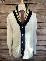 Vintage Polo Ralph Lauren Cardigan Varsity Sweater Size L Ivory Cotton