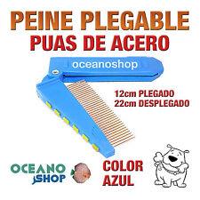 PEINE PLEGABLE PÚAS DE ACERO PERRO Y GATO PELO MANGO GOMA AZUL D59 0613