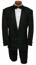 Vintage Mens 40L Burgundy & Green Plaid 1 Btn Shawl Tuxedo Jacket Retro New Wave