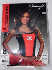 Size XLarge Women's Red & Black Pirate Corset Costume Cosplay Halloween Sexy