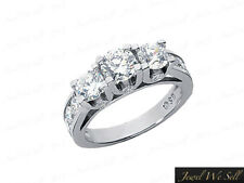 Genuine 2ct Round Cut Diamond 3Stone Engagement Ring 950 Platinum F VS2 U-Prong