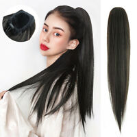 Straight Ponytail Brazilian Remy Human Hair Drawstring Clip In Hair Extensions