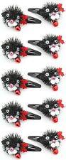 ZEST 10 clips cheveux moelleux cat diapos avec Jingly cloches noir et rouge