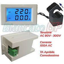 Voltmetro e Amperometro AC digitale doppio display LCD TA aperto 80V - 300V 100A